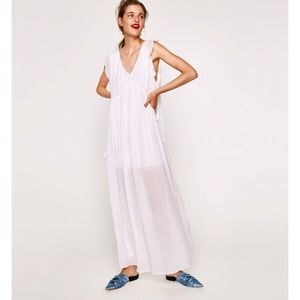 New Zara White V neck long dress